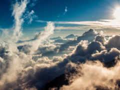 manzara, oblaka, полет