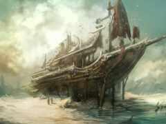 корабль, art, sail