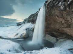 winter, rock, водопад