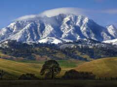 гора, снег, шапка