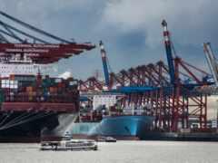 порт, crane, корабль