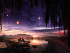 steam, лодка, ночь