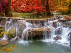 природа, водопад, осень