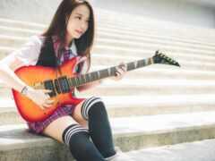 гитара, азиатка, девушка