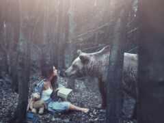 devushka, les, животное