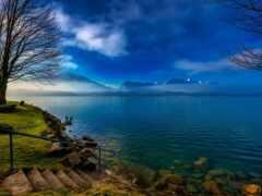 озеро, thun, лестница