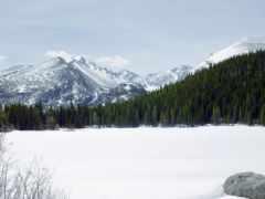 горы, zima, les
