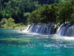 водопад, блики, река