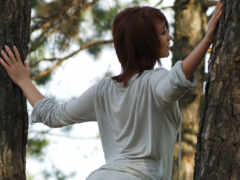 девушка, дерево, два
