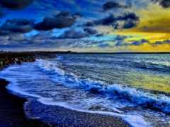 pantai, terbit, matahari
