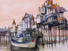 краска, watercolor, лодка