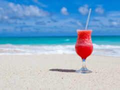 пляж, утро, напиток