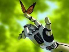 robot, mariposa, stock