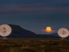 telescope, луна, закат