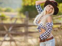 девушка, шляпа, ковбой