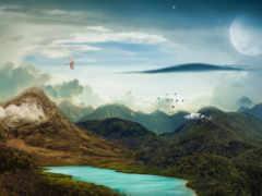 surreal, landscape, mountains