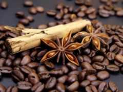 coffee, зерна, cinnamon