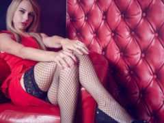 блондинка, ножки, чулок