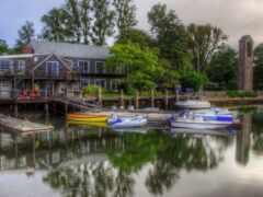 лодка, riverside, house