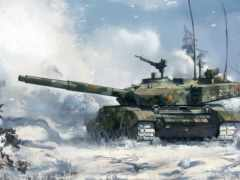 танк, снег, лес