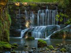 pantalla, piedra, río