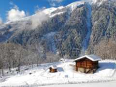 house, горах, winter