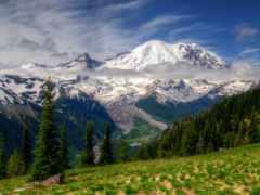 гора, rainier, landscape