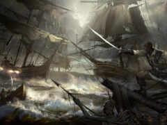 корабль, пиратский, море