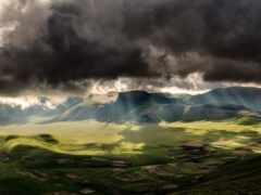 гора, облако, буря