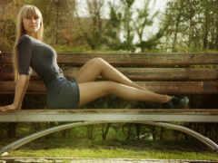 profile, девушка, скамейка