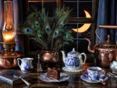 натюрморт, чая, лампа