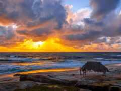 пляж, небо, утро