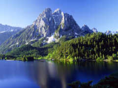 горы, water, озеро