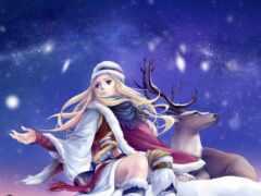 winter, девушка, лань