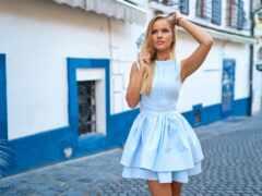 платье, синий, плечо