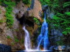 водопад, гора, water