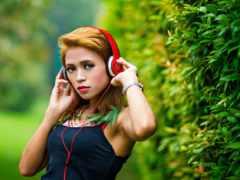 beats, headphones, девушка