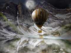 luna, aerostato, montaña