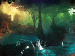 landscape, fantasy, водопад