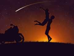 мотоцикл, закат, девушка
