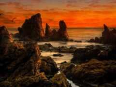 rock, formation, море