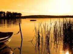 озеро, умиротворение, лодка