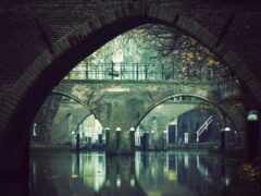 город, мост, осень