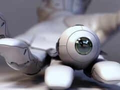 глаз, robot, closeup