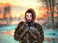 шуба, девушка, снег