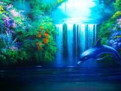 заставки, дельфин, рисованные