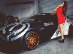 девушка, платье, машина