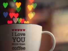 cup, coffee, сердце