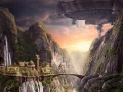 мост, castle, водопад