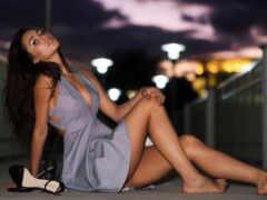 ankle, платье, brunette
